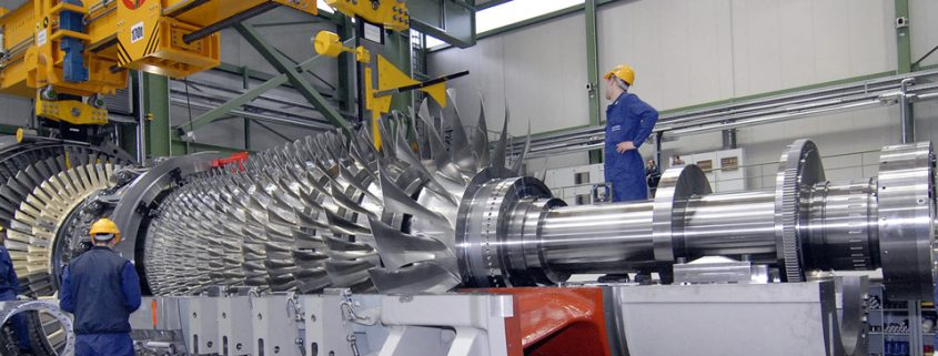 The SGT5-8000H gas turbine, developed by Siemens, is rated for a power output of 375 megawatts. The picture shows the gas turbine at Berlin facility ready for shipment.